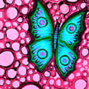 Blue Butterfly Poster by Brenda Higginson