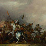 Cavalry Attacked By Infantry Poster