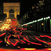 Champs Elysee At Night Poster