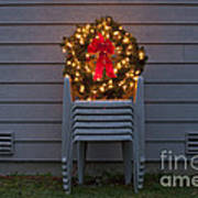 Christmas Wreath On Lawn Chairs Poster
