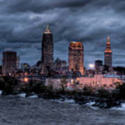 Cleveland Skyline At Dusk From Edgewater Park Poster