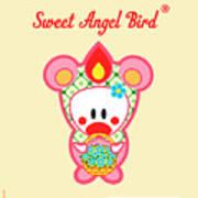 Cute Art - Sweet Angel Bird In A Bear Costume Holding A Basket Of Forget-me-nots Wall Art Print Poster