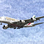 Emirates A380 Airbus Watercolour Poster
