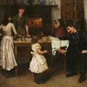 Family Scene In A Kitchen Poster
