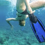 Female Snorkeling Poster