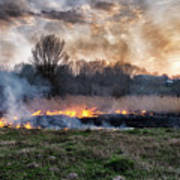 Fires Sunset Landscape Poster