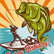 Fly Fisherman On Boat Catching Largemouth Bass Poster by Aloysius Patrimonio