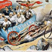 Free Silver Cartoon, 1896 Poster