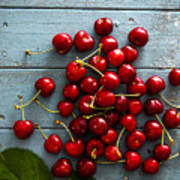 Fresh Cherries On Wood Poster