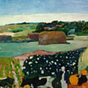 Haystacks In Brittany Poster