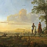 Horsemen And Herdsmen With Cattle Poster