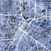 Houston Texas City Street Map Poster