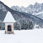 Idyllic Landscapes Immersed In The Snow. The Dream Of The Julian Alps And Valbruna Poster