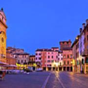Mantova City Piazza Delle Erbe Evening View Panorama Poster