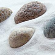 Meditation Stones On White Sand Poster