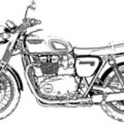 Motorcycle Art, Black And White Poster
