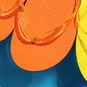 Multicolored Flip Flops Floating In Pool Poster