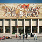 National Historical Museum Landmark And Mosaic Mural In Tirana A Poster