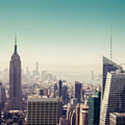 New York Manhattan Skyline At Sunset Poster