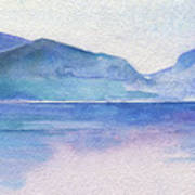 Ocean Watercolor Hand Painting Illustration. Poster