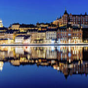 Perfect Sodermalm And Mariaberget Blue Hour Reflection Poster