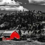 Red Barn In Wyoming Poster