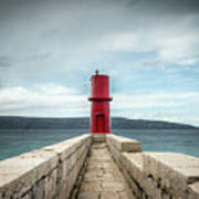 Red Lighthouse Of Cres On A Cloudy Day In Spring Poster