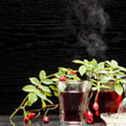 Rosehip Tea With Lemon In Glass Poster