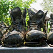 Row Of Old Leather Worn Out Shoes  Poster