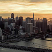 San Francisco City Skyline At Sunset Aerial Poster