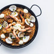 Seafood And Rice Paella Traditional Spanish Food Poster