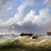 Ships On A Stormy Sea Poster