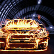 Sports Car In Flames Poster