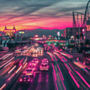 Street Scenes Around Las Vegas Nevada At Dusk Poster