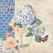 Summer Memories - Blue Hydrangea N Butterflies Poster