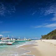 Traditional Filipino Ferry Taxi Tour Boats Puka Beach Boracay Ph Poster