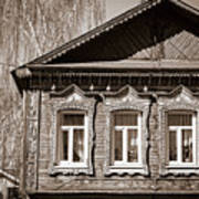 Traditional Old Russian House Facade Poster