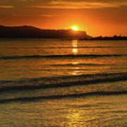 Vibrant Orange Sunrise Seascape Poster