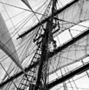 Vintage Style Picture Of Beautiful Sail Boat Details. Rope, Hull Poster