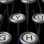 Vintage Typewriter Keys Close Up Poster