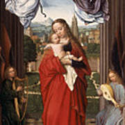 Virgin And Child With Four Angels Poster