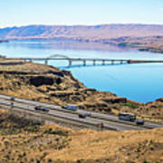 Wanapum Lake Colombia River Wild Horses Monument And Canyons Poster