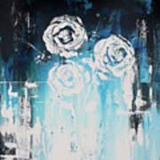 3 White Roses Poster