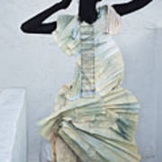 Woman With Black Boby Paint In Paper Dress Poster