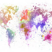 World Map Painting Poster