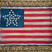 33 Star American Flag. Painting Of Antique Design Poster