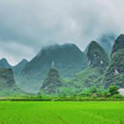 Karst Mountains Rural Scenery Poster
