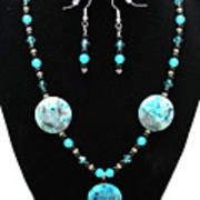 3508 Crazy Lace Agate Necklace And Earrings Poster