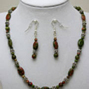 3525 Unakite Necklace And Earring Set Poster