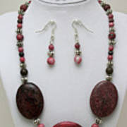 3544 Rhodonite Necklace Bracelet And Earring Set Poster